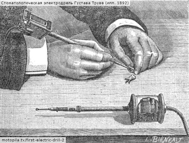Стоматологическая электродрель Густава Труве (илл. 1892)